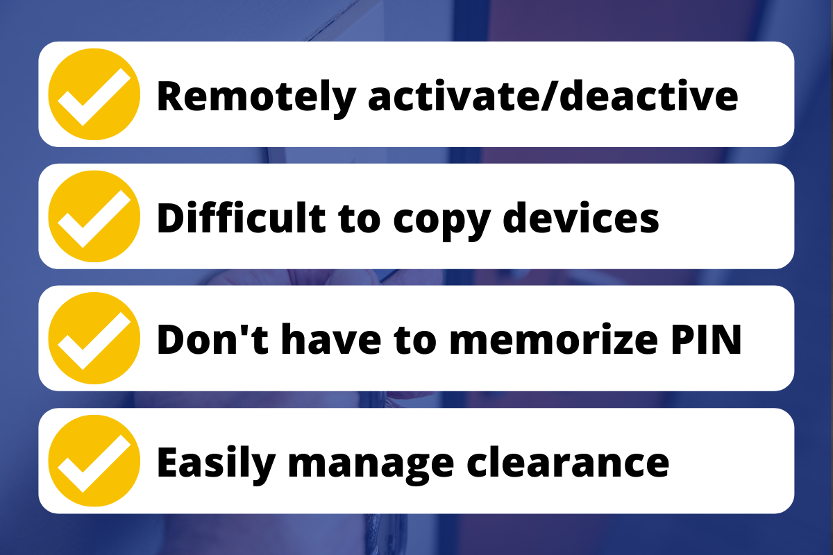Graphic that reads: Remotely activate / deactive, Difficult to copy devices, Don't have to memorize PIN, Easily Manage clearance