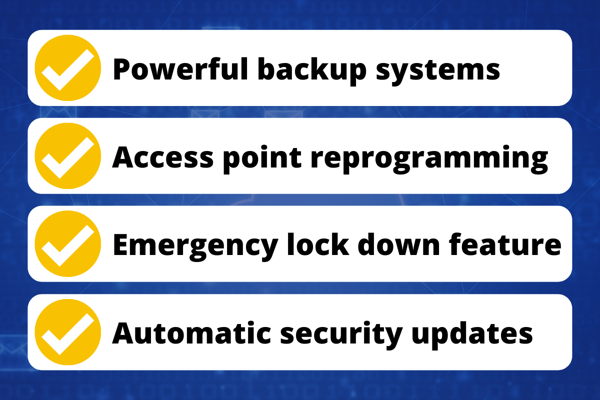Graphic that reads: Powerful backup systems, Access point reprogramming, Emergency lock down feature, Automatic security updates